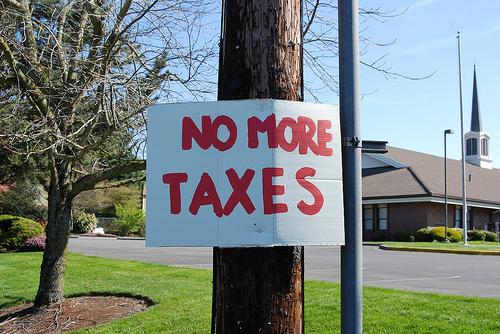 No more taxes sign